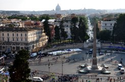 View at Piazza del Popolo from the edge of Villa Borghese gardens