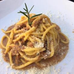 Spaghetti with duck