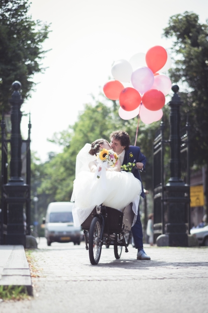 Wedding day challenge: how to fit all that tulle on a bicycle?