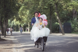 Cycling in Vondelpark on our wedding day - a real tourist attraction.