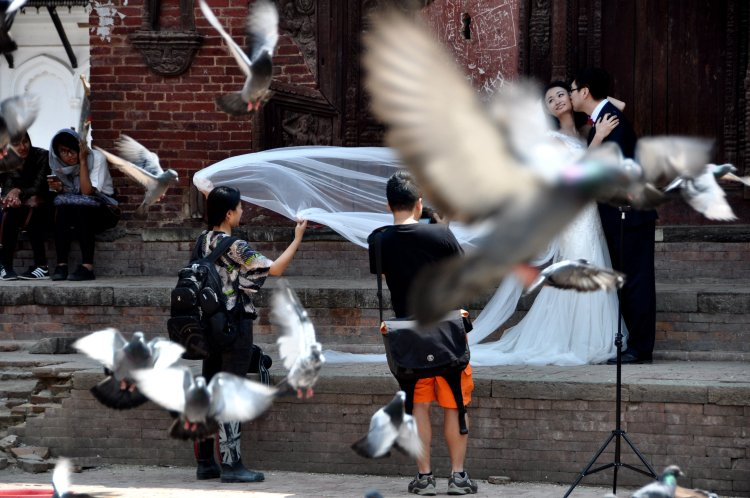 A wedding photoshoot in Kathmandu, Nepal.