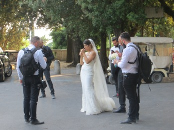 Wedding photoshoot in Villa Borghese park, Rome.