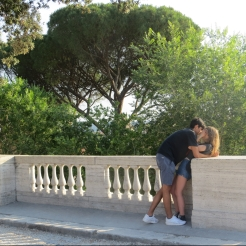 Teenagers snogging in Villa Borghese park, Rome.