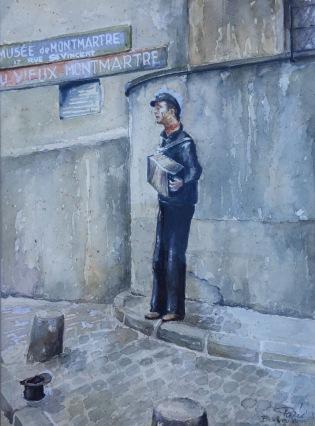 Painting of accordionist in Montmartre by Ben van Kleef