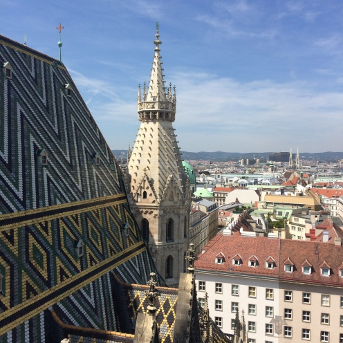 City view from the Cathedral Pummerin of the Stephansdom