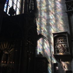 Beautiful light flowing through the stained glass windows of the Stephandsdom.
