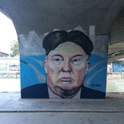 Political street art at the Danube river banks
