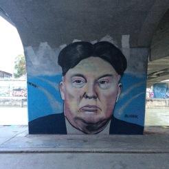 Political street art at the Danube river banks