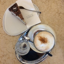 Mozart torte and chai latte for breakfast