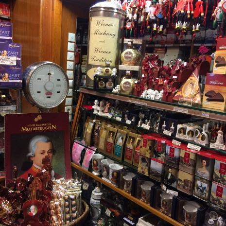 Mozart kugeln in a candy shop