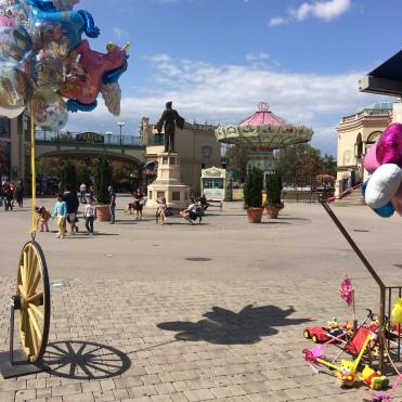 A sunny day at Wurstelprater fun fair.