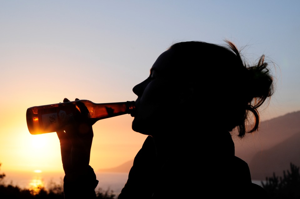 Enjoying a sunset beer