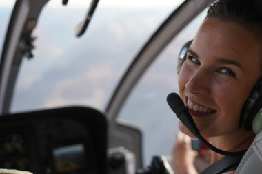 Happy face in the helicopter