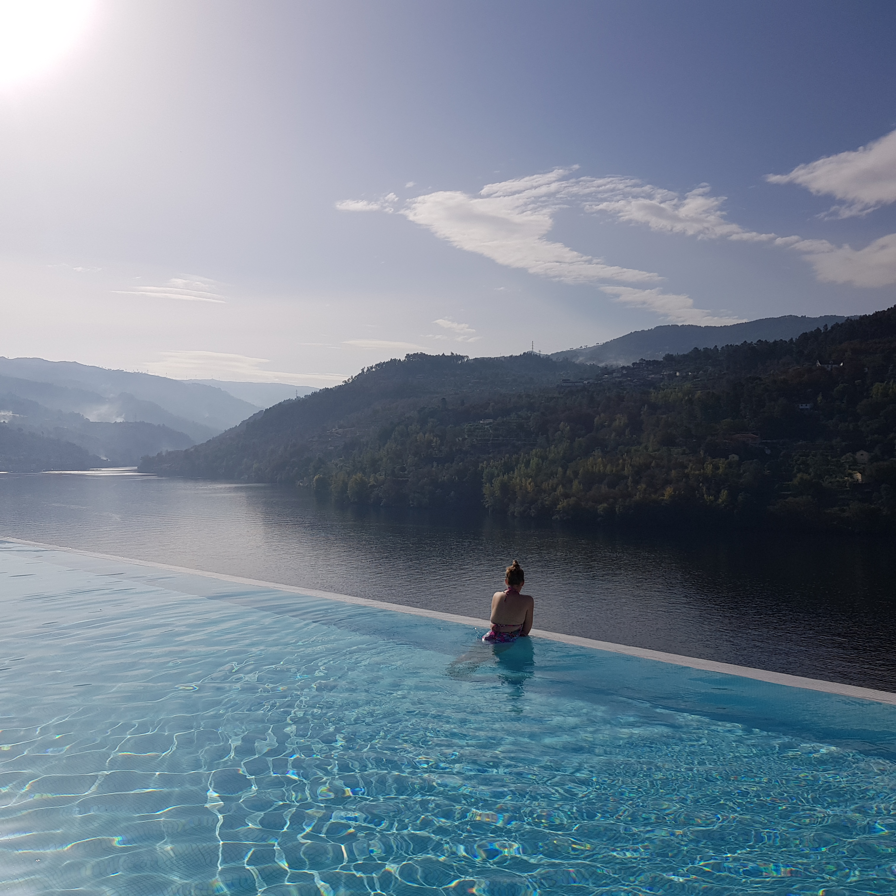Enjoying the infinity pool at Douro Valley Hotel Spa